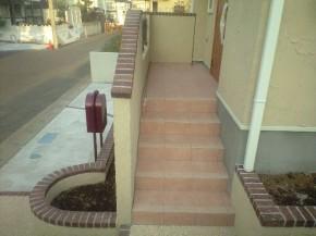 アプローチ階段 タイル貼り